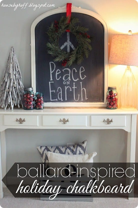 Christmas Decorating Ideas ~ I love this cute idea to hang a wreath on a chalkboard and draw a peace sign in the middle with the caption Peace on Earth.