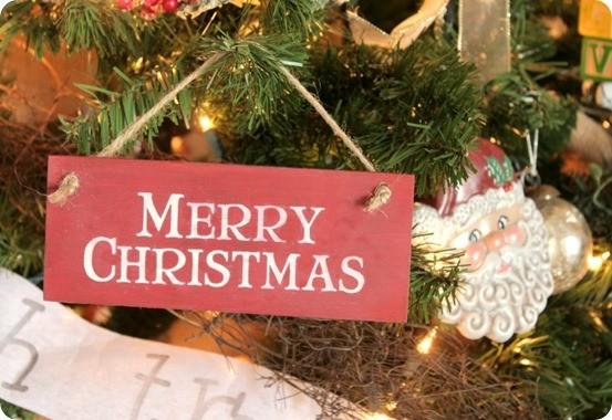 DIY Christmas Crafts ~ Pottery Barn Knock Off Merry Christmas Sign Ornament