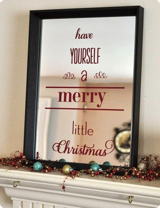 DIY Christmas Decorations ~ Add vinyl lettering to mirror from Wal-Mart to make a Pottery Barn knock off Christmas mirror!