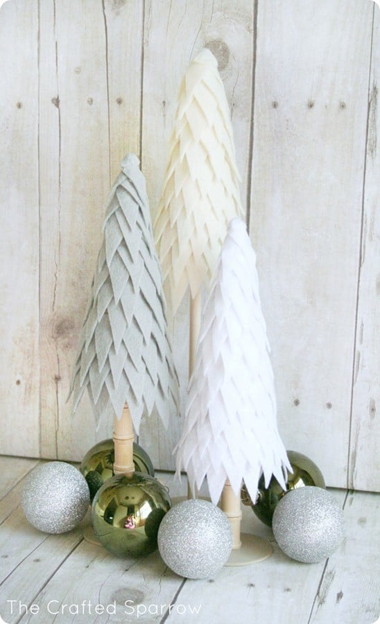 DIY Christmas Decorations ~ Create a simple yet stunning holiday centerpiece with these trees made from a cone and inexpensive felt.