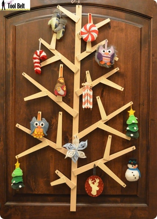DIY Christmas Decorations ~ Get the free woodworking plans to make this wooden wall tree inspired by West Elm.
