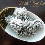 Silver Spray Painted Pinecones