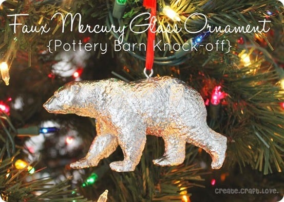 DIY Christmas Ornaments ~ Spray paint a toy animal to make your own mercury glass ornaments like those from Pottery Barn.