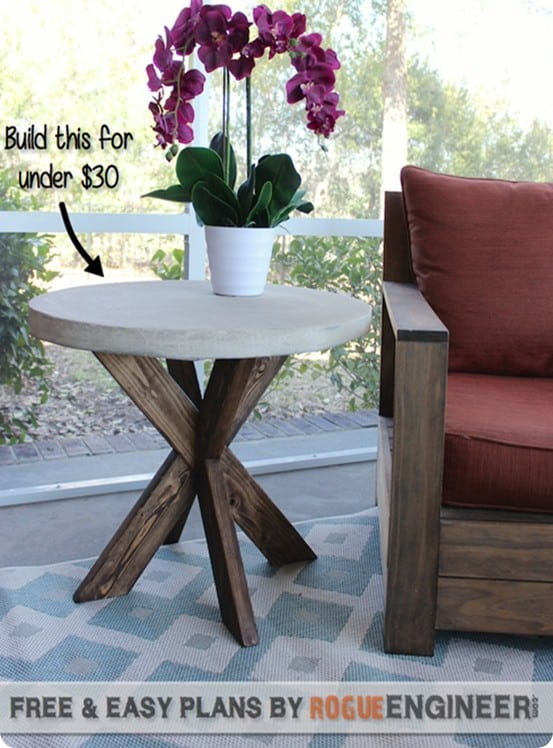 DIY Furniture ~ Believe it or not, this round table with concrete top was made for under $20!