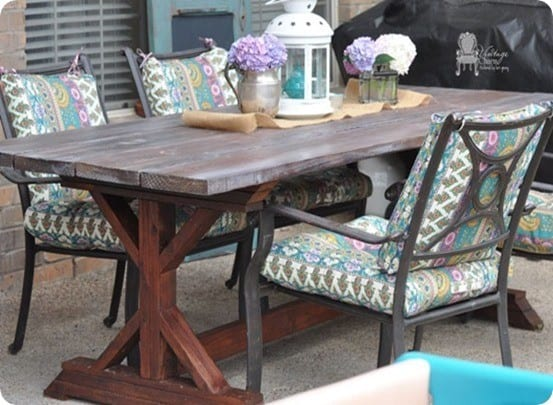 DIY Furniture ~ Build a farmhouse style trestle table for thousands less using free woodworking plans from Ana White.