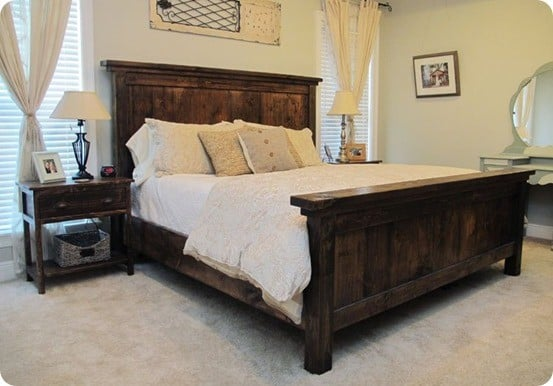 DIY Furniture ~ Get the FREE plans to build this Pottery Barn knock off Farmhouse Bed for $250!