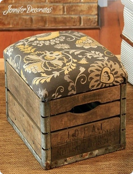 DIY Furniture ~ Love this idea for repurposing a vintage milk crate into a rustic ottoman!