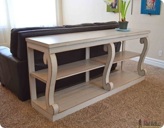 DIY Furniture ~ This Restoration Hardware knock off scroll leg console table cost only $95 to build!