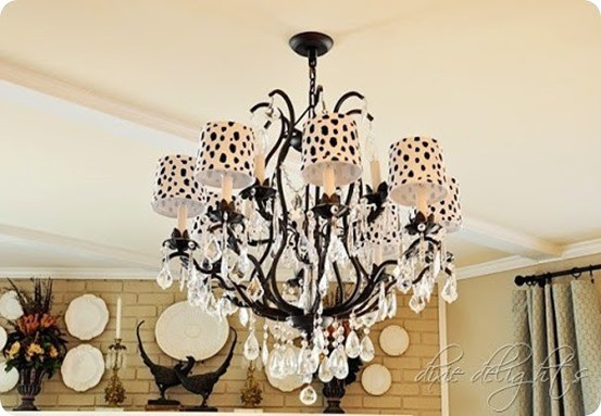 DIY Home Decor  ~ Add a trendy touch to plain chandelier shades by painting them with black spots! {a Ballard Designs knock off}