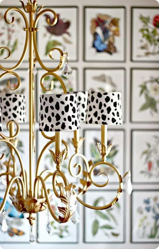 DIY Home Decor ~ Give plain white chandelier shades a graphic punch by painting them with a trendy Dalmatian print!