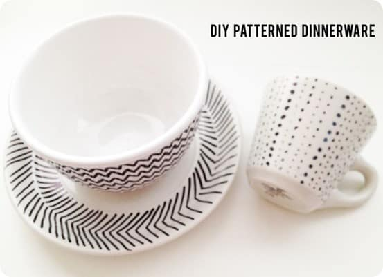 DIY Home Decor ~ Make your own patterned dinnerware like that from West Elm by doodling on Goodwill plates with a Sharpie.