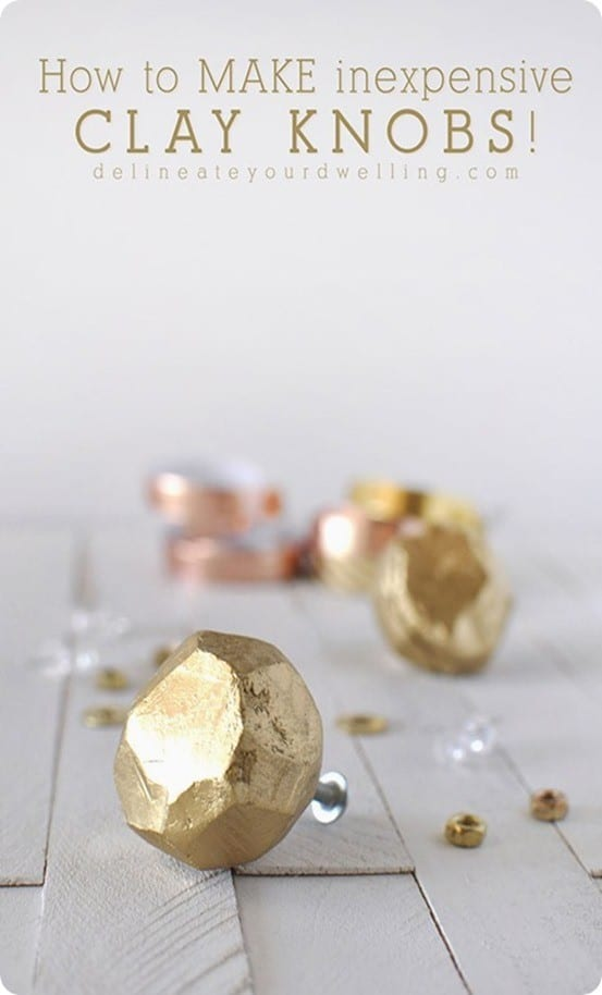 DIY Home Decor ~ Use air dry clay to sculpt your own Anthropologie inspired faceted gold knobs.