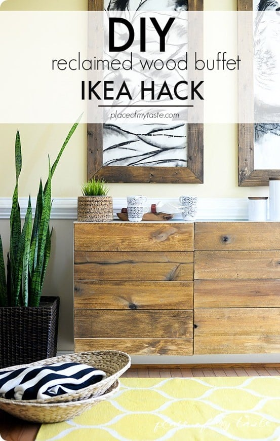 IKEA Hacks ~ Make an IKEA cabinet look like a reclaimed wood buffet from West Elm!