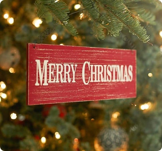 Merry Christmas Sign Ornament from Pottery Barn