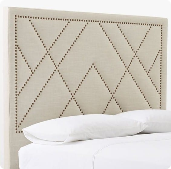 Upholstered Headboard with Patterned Nailhead Trim ...