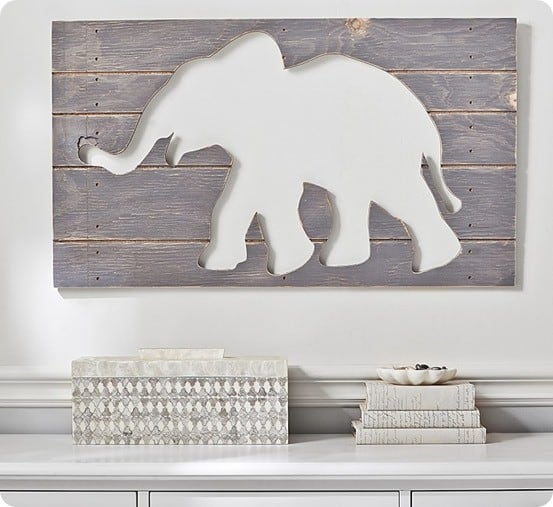 Pottery Barn Kids Gray Elephant Wood Plaque
