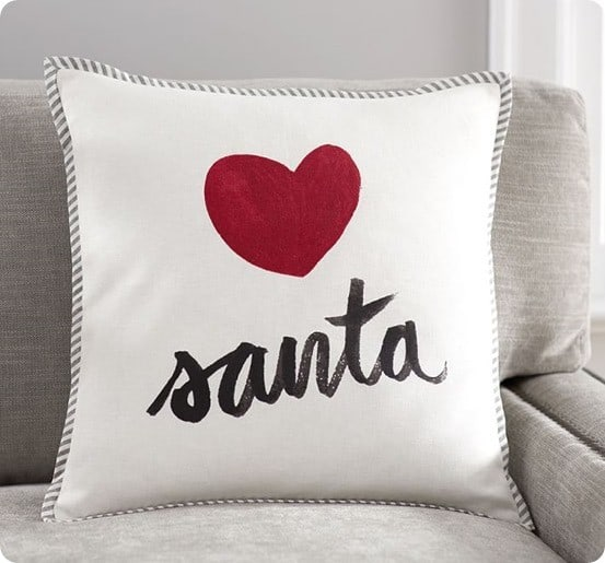 Pottery Barn's Love Santa Pillow Cover