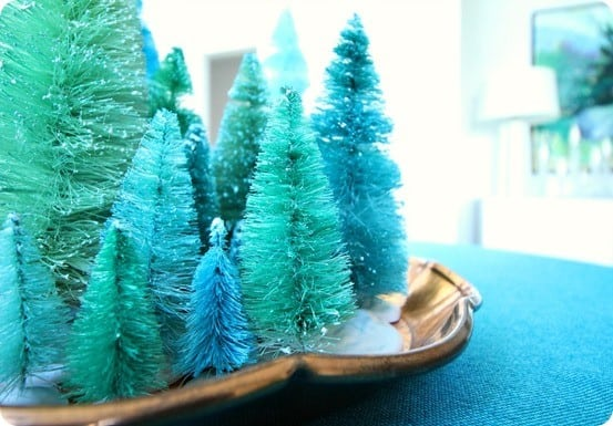DIY Christmas Decorations ~ Do you love COLOR at Christmas? Try dying regular bottle brush trees for a fun alternative to red and green!