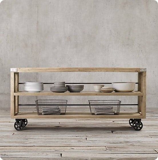 Wood and Steel Console from Restoration Hardware