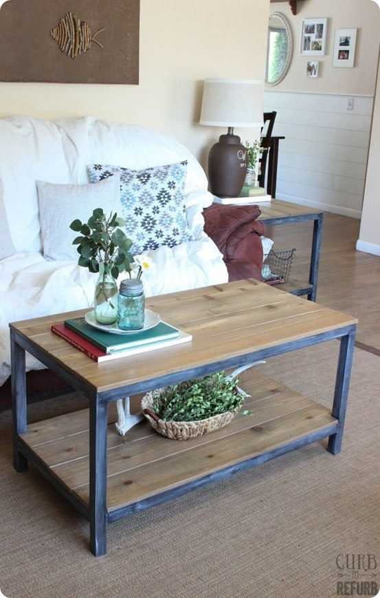 diy furniture ballard designs knock off coffee table and end table with faux metal frame - Metal Frame Coffee Table
