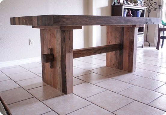 Faux Reclaimed Wood Dining Table For 120