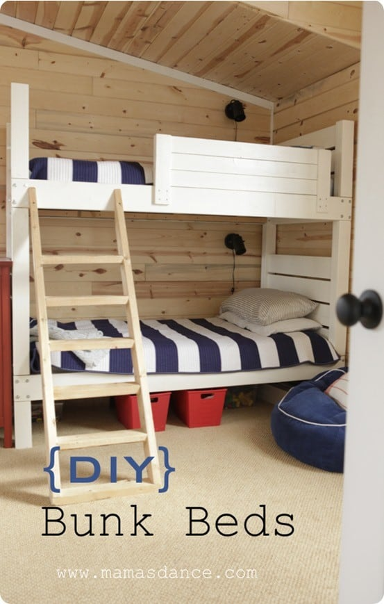 Elegant DIY Furniture Land of Nod Knock Off Bunk Beds with free woodworking plans from