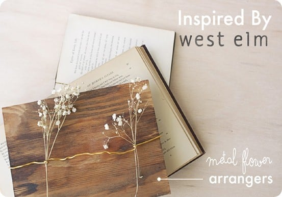 DIY Home Decor ~ Display flowers in a creative way by wrapping a piece of wire around a wood board