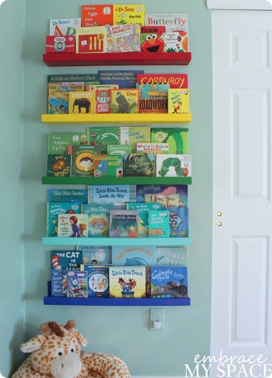 DIY Home Decor ~ Land of Nod Knock Off Rainbow Book Ledges for Under $30!