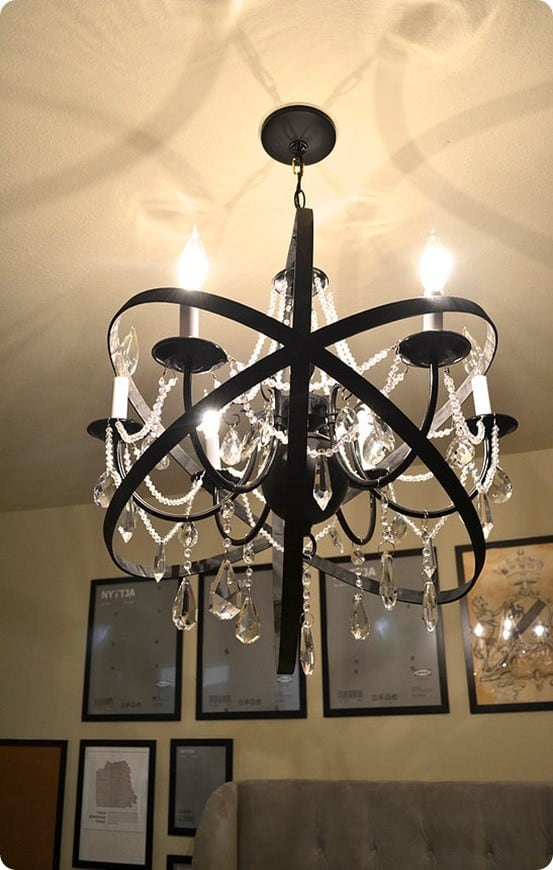 DIY Home Decor ~ Restoration Hardware Knock Off Orb Chandelier {made with a plain chandelier, crystals, and large embroidery hoops}