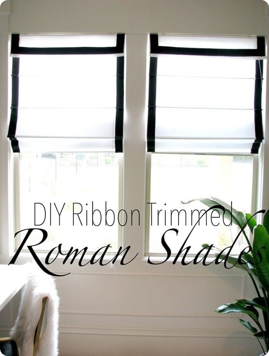 DIY Home Decor ~ Trim out plain window shades with black ribbon to get a custom look like those from Pottery Barn - but for much cheaper!