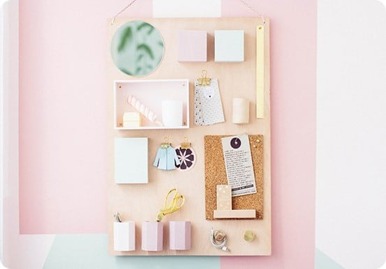 DIY Organization Board ~ Turn a wood board into an Anthropologie inspired wall organizer by adding cups, boxes, clips, and knobs!