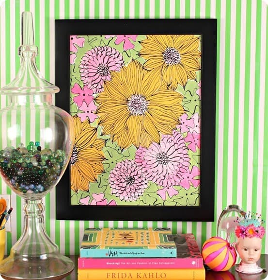 DIY Wall Decor ~ Follow this tutorial to paint your own flower canvas inspired by the artist Vera.
