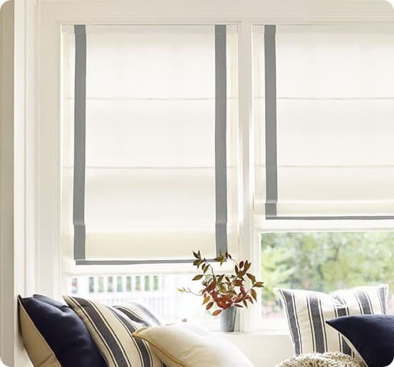 Ribbon Trim Roman Shades