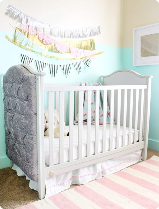Nursery Ideas ~ How to Add Tufted Panels to a Store-Bought Crib {RH Baby & Child Knock Off}