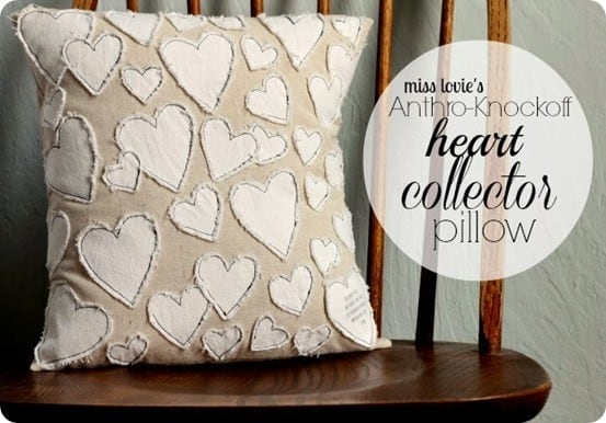 Valentine's Day ~ Anthropologie Heart Pillow Knock Off