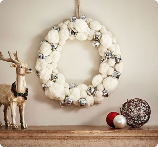 White Pom and Silver Bell Wreath from Pottery Barn