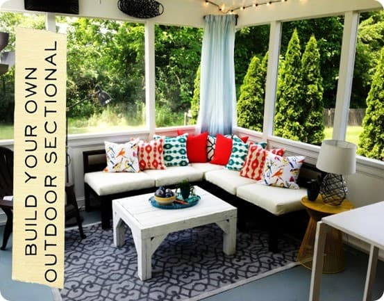 Wood Projects ~ Get the free woodworking plans to build this outdoor sectional inspired by West Elm!