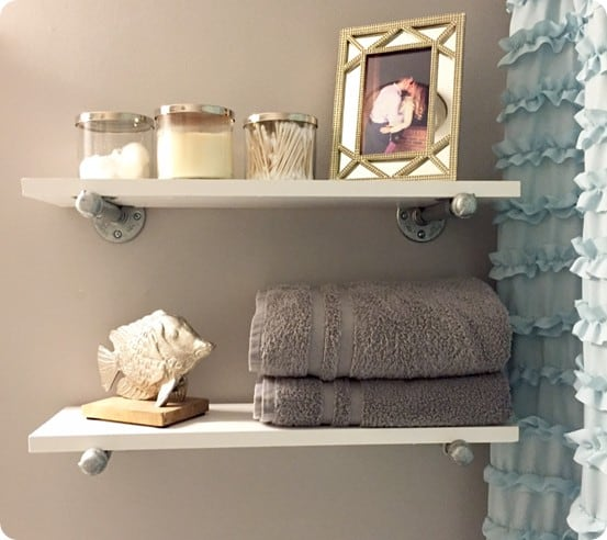 Wood Projects ~ Restoration Hardware Knock Off Wood and Metal Shelves