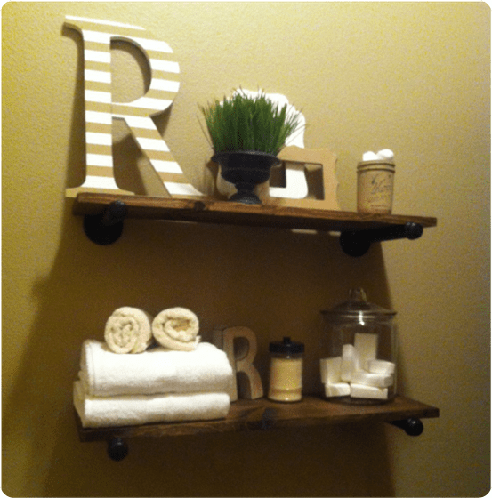 Wood Projects ~ Restoration Hardware Knock Off Wood and Pipe Shelves
