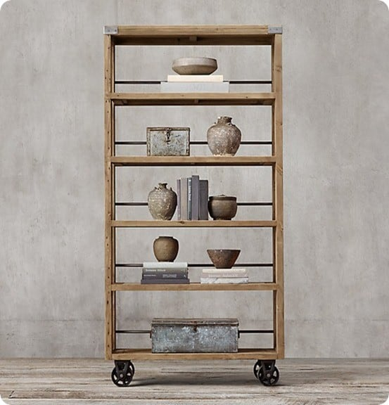 Wood and Steel Shelving from Restoration Hardware