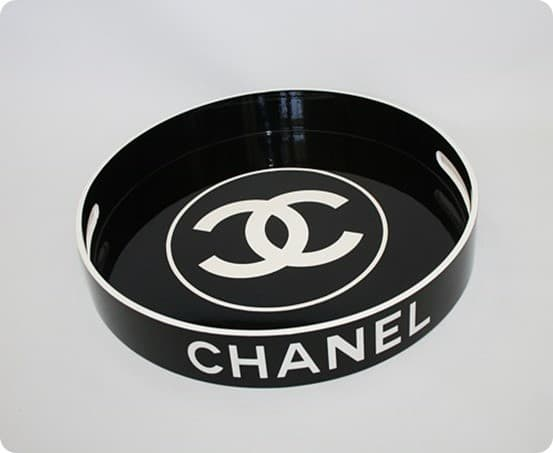 Chanel Black and White Serving Tray