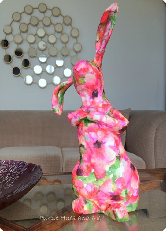 DIY Easter Crafts ~ Follow this tutorial to make a paper mache bunny for spring!