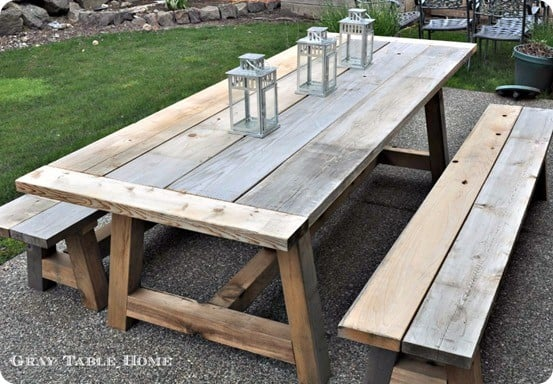 Reclaimed wood outdoor dining table and benches for Restoration hardware outdoor dining