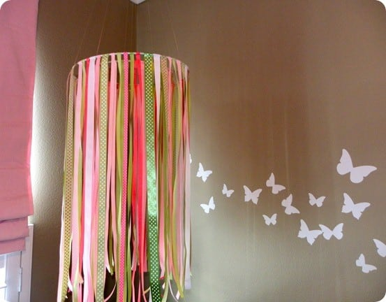 DIY Home Decor ~ All you need is a hot glue gun to make this adorable ribbon mobile inspired by Pottery Barn!