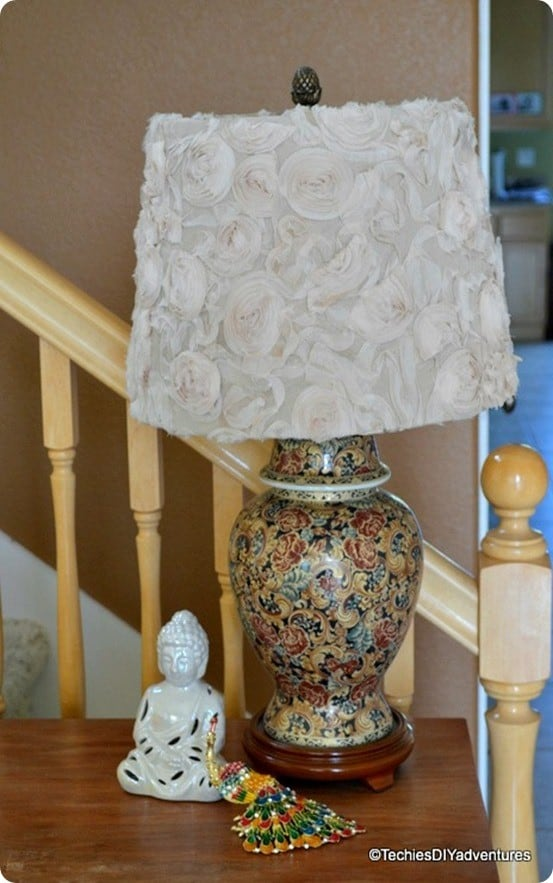 DIY Home Decor ~ Anthropologie Knock Off Rosette Fabric Lampshade