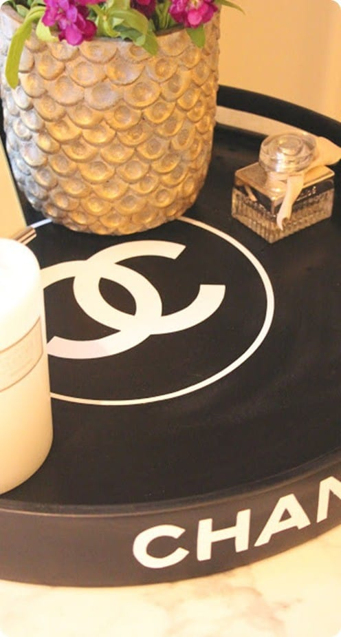 DIY Home Decor ~ Chanel Knock Off Round Tray from Goodwill Find