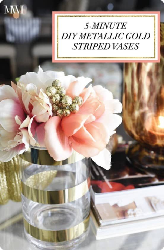 Five minute metallic gold striped vases Metallic home decor pinterest