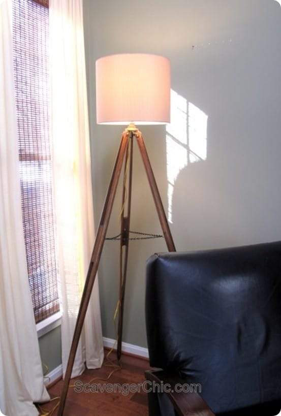 DIY Home Decor ~ Pottery Barn Knock Off Tripod Floor Lamp (made from an old surveyors tripod!)