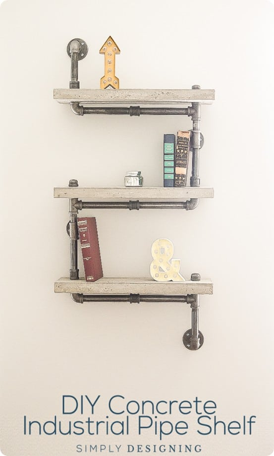 DIY Wall Shelves ~ Concrete and Pipe Industrial Shelf Tutorial