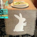 Burlap and Drop Cloth Bunny Table Runner